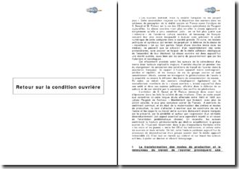 Les conflits de générations dans la classe ouvrière, Retour sur la condition ouvrière Enquête aux usines Peugeot de Sochaux - Montbéliard de S. BEAUD et M. PIALOUX (Fayard - 1999)
