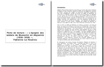 « L'épopée des soldats de Mussolini en Abyssinie (1936-1938) » de F. Le Houérou