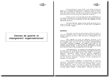 Cercles de qualité et changement organisationnel de Françoise Chevalier