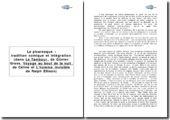 Le picaresque: tradition comique et intégration (dans Le tambour de Günter Grass, Voyage au bout de la nuit de Céline et l'homme invisible de Ralph Ellison)