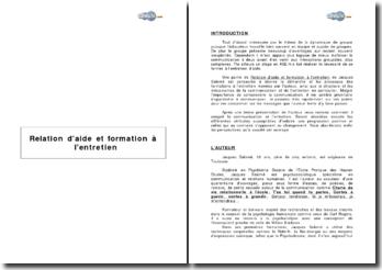 Relation d'aide et formation à l'entretien de Jacques Salomé