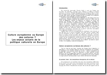 « Culture européenne ou Europe des cultures ? Les enjeux actuels de la politique culturelle en Europe » de Pamela Sticht