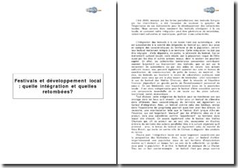 Festivals et développement local: quelle intégration et quelles retombées?