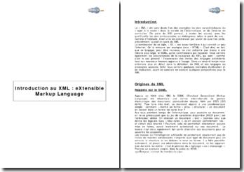 Introduction au XML : eXtensible Markup Language