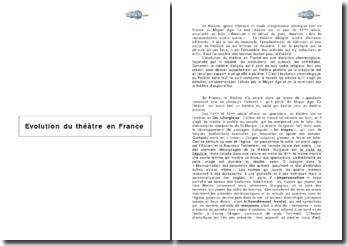 L'évolution du théâtre en France à travers les siècles