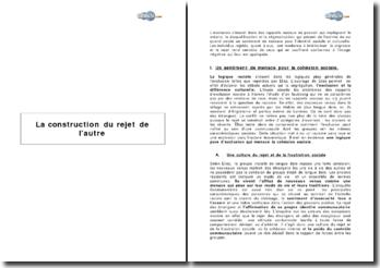 La construction du rejet de l'autre en France et en Europe