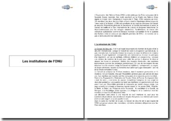 Les institutions de l'ONU