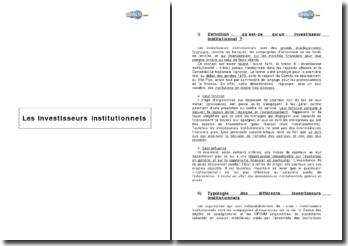 Les investisseurs institutionnels et son évolution (2004)