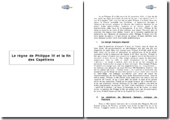 Le règne de Philippe IV et la fin des Capétiens