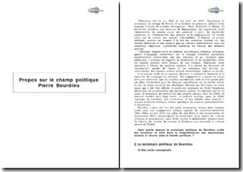 Propos sur le champ politique de Pierre Bourdieu