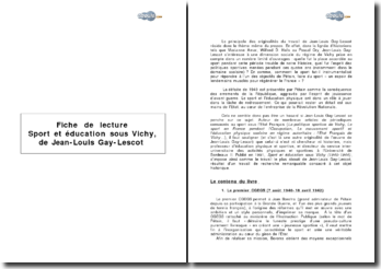 Sport et éducation sous Vichy de Jean-Louis Gay-Lescot