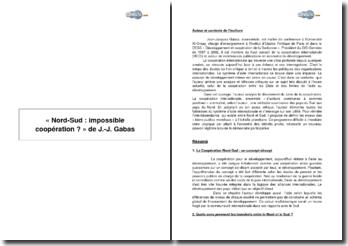 « Nord-Sud : Impossible coopération ? » de J.-J. Gabas