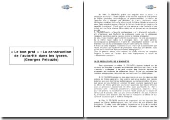 « Le bon prof : la construction de l'autorité dans les lycées » de G. Felouzis