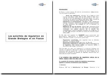 Les autorités de régulation en Grande Bretagne et en France