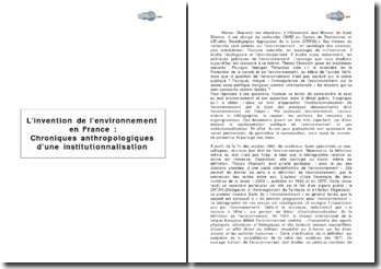 « L'invention de l'environnement en France : Chroniques anthropologiques d'une institutionnalisation » de Florian Charvolin
