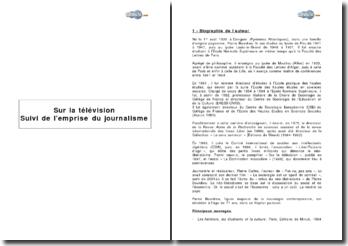 « Sur la télévision - Suivi de l'emprise du journalisme » de Pierre Bourdieu