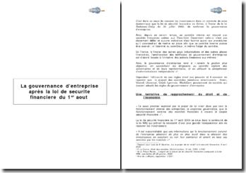 La gouvernance d'entreprise après la loi de sécurité financière du 1er août 2003