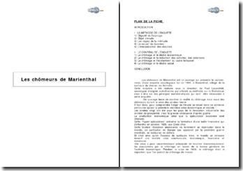 « Les chômeurs de Marienthal » sous la direction de P. Lazarsfeld