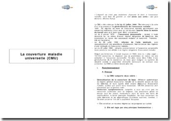 La couverture maladie universelle (CMU) - principes et mise en oeuvre, apports et limites