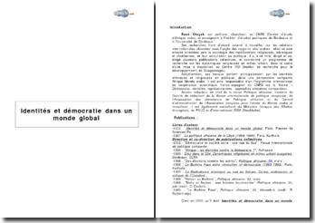 Identités et démocratie dans un monde global de R. Otayek