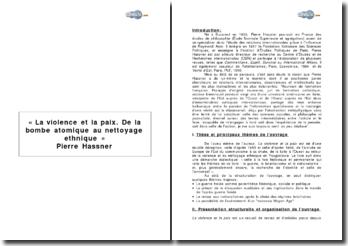 « La violence et la paix. De la bombe atomique au nettoyage ethnique » de P. Hassner