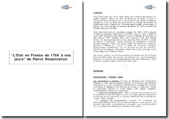 L'Etat en France de 1789 à nos jours de Pierre Rosanvallon