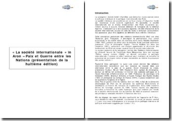 « La société internationale » in Aron - Paix et Guerre entre les Nations (présentation de la huitième édition)