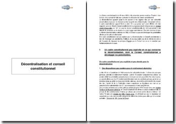Décentralisation et Conseil Constitutionnel