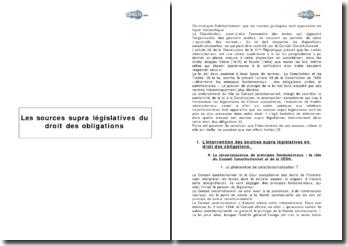 Les sources supra législatives du droit des obligations