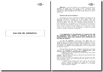 Les lois de validation