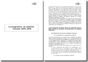 Le programme de stabilité français 2006-2008