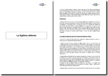 La légitime défense - La Charte des Nations-Unies et l'artice 51