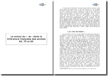 Le retour au Je dans la littérature française des années 60, 70 et 80