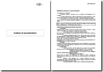 Les notions de culture et d'acculturation en sciences sociales