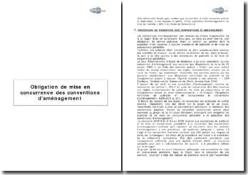 Obligation de mise en concurrence des conventions d'aménagement