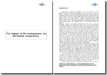 The Impact of EU enlargement on EU -Russia cooperation