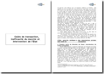 Théorème de Coase : Coûts de transaction, inefficacité du marché et intervention de l'Etat