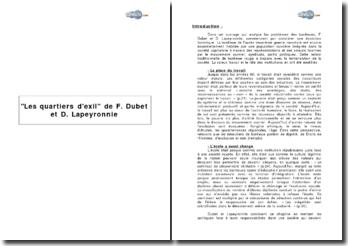 Les quartiers d'exil de F. Dubet et D. Lapeyronnie