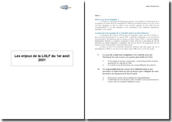 Enjeux de la Loi Organique relative aux Lois de Finance (LOLF)