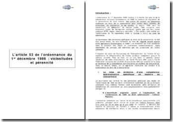 L'article 53 de l'Ordonnance de 1986 : vicissitudes et pérennité