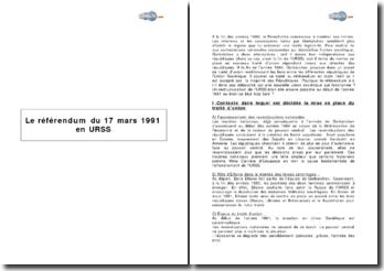Le référendum du 17 mars 1991 en URSS
