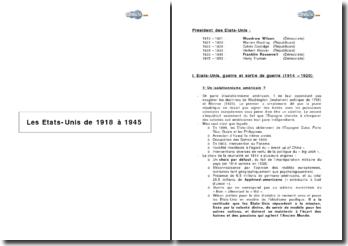 Les Etats Unis de 1918 à 1945
