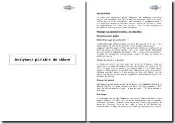 Analyseur portable de chlore