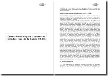 Crises économiques : causes et remèdes (cas de la Suède 92-93)