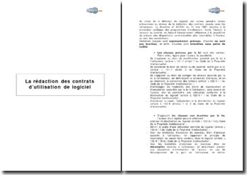 La rédaction des contrats d'utilisation de logiciel