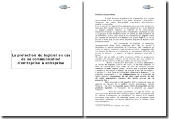 La protection du logiciel en cas de sa communication d'entreprise à entreprise
