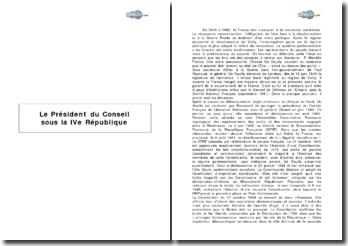 Le rôle du Président du Conseil sous la IVe République