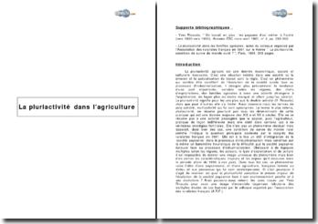La pluriactivité dans l'agriculture de 1815 à la fin des années 1950