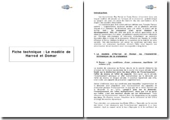 Le modèle d'Harrod Domar