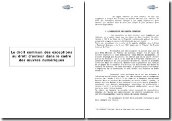 Le droit commun des exceptions au droit d'auteur dans le cadre des oeuvres numériques